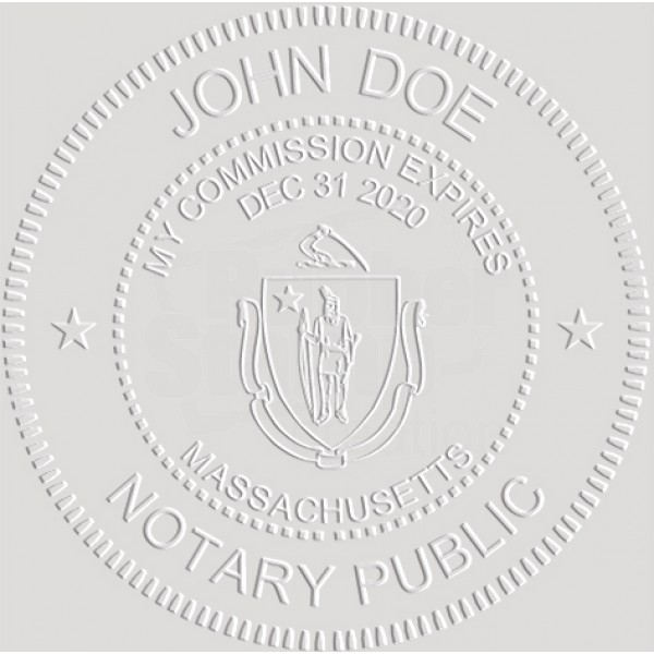 Notary Seal Round Embosser for Massachusetts State ...