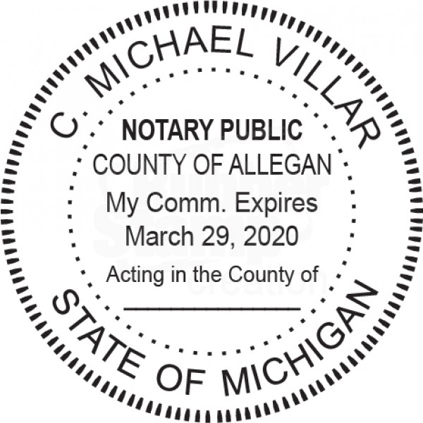 Notary Stamp For Michigan State Round Notary Stamps