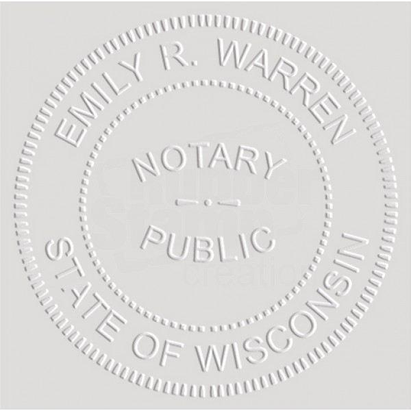 Notary Seal Round Embosser For Wisconsin State