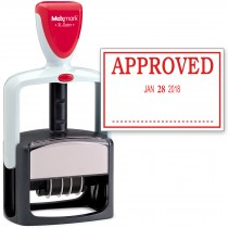 2000 PLUS Heavy Duty Style 2-Color Date Stamp with APPROVED self inking stamp - Red Ink