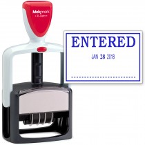 2000 PLUS Heavy Duty Style 2-Color Date Stamp with ENTERED self inking stamp - Blue Ink