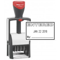 """Heavy Duty Date Stamp with """"ENTERED"""" Self Inking Stamp - BLACK Ink"""