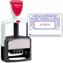 2000 PLUS Heavy Duty Style 2-Color Date Stamp with DEPOSITED self inking stamp - Blue/Red Ink