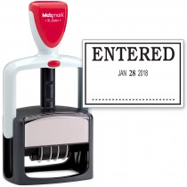 2000 PLUS Heavy Duty Style 2-Color Date Stamp with ENTERED self inking stamp - Black Ink