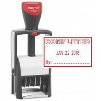 "Heavy Duty Date Stamp with ""COMPLETED"" Self Inking Stamp - RED Ink"