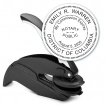 Notary Seal Round Embosser for District of Columbia - Includes Gold Burst Seal Labels (42 count)