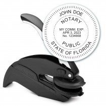 Notary Seal Round Embosser for Florida State - Includes Gold Burst Seal Labels (42 count)