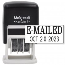 MaxMark Self-Inking Rubber Date Office Stamp with E-MAILED Phrase & Date - BLACK INK (Max Dater II), 12-Year Band