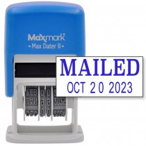MaxMark Self-Inking Rubber Date Office Stamp with MAILED Phrase & Date - BLUE INK (Max Dater II), 12-Year Band