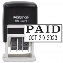 MaxMark Self-Inking Rubber Date Office Stamp with PAID Phrase & Date - BLACK INK (Max Dater II), 12-Year Band