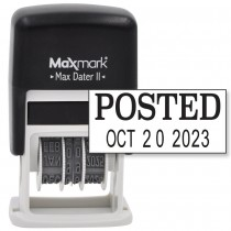 MaxMark Self-Inking Rubber Date Office Stamp with POSTED Phrase & Date - BLACK INK (Max Dater II), 12-Year Band