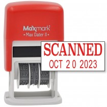 MaxMark Self-Inking Rubber Date Office Stamp with SCANNED Phrase & Date - RED INK (Max Dater II), 12-Year Band