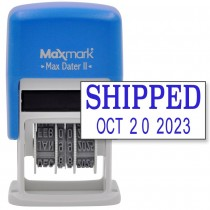 MaxMark Self-Inking Rubber Date Office Stamp with SHIPPED Phrase & Date - BLUE INK (Max Dater II), 12-Year Band