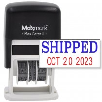 MaxMark Self-Inking Rubber Date Office Stamp with SHIPPED Phrase & Date - BLUE/RED INK (Max Dater II), 12-Year Band