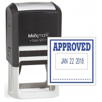"MaxMark Q43 (Large Size) Date Stamp with ""APPROVED"" Self Inking Stamp - Blue Ink"