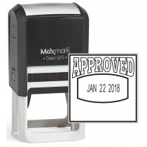 "MaxMark Q43 (Large Size) Date Stamp with ""APPROVED"" Self Inking Stamp - Black Ink"