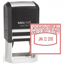 "MaxMark Q43 (Large Size) Date Stamp with ""APPROVED"" Self Inking Stamp - Red Ink"