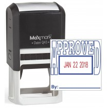 """MaxMark Q43 (Large Size) Date Stamp with """"APPROVED"""" Self Inking Stamp - Blue/Red Ink"""
