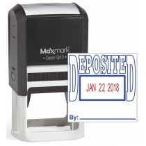"MaxMark Q43 (Large Size) Date Stamp with ""DEPOSITED"" Self Inking Stamp - Blue/Red Ink"