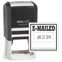"""MaxMark Q43 (Large Size) Date Stamp with """"E-MAILED"""" Self Inking Stamp - Black Ink"""