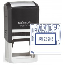 """MaxMark Q43 (Large Size) Date Stamp with """"E-MAILED"""" Self Inking Stamp - Blue Ink"""