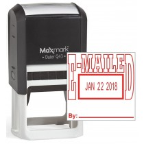"""MaxMark Q43 (Large Size) Date Stamp with """"E-MAILED"""" Self Inking Stamp - Red Ink"""