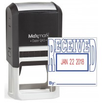 """MaxMark Q43 (Large Size) Date Stamp with """"RECEIVED"""" Self Inking Stamp - Blue/Red Ink"""