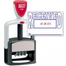 2000 PLUS Heavy Duty Style 2-Color Date Stamp with RECEIVED self inking stamp - Blue/Red Ink