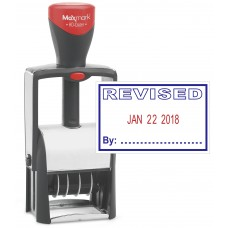 "Heavy Duty Date Stamp with ""REVISED"" Self Inking Stamp - 2 Color Blue/Red Ink"