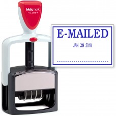 2000 PLUS Heavy Duty Style 2-Color Date Stamp with E-MAILED self inking stamp - Blue Ink