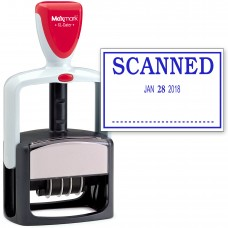 2000 PLUS Heavy Duty Style 2-Color Date Stamp with SCANNED self inking stamp - Blue Ink