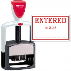 2000 PLUS Heavy Duty Style 2-Color Date Stamp with ENTERED self inking stamp - Red Ink