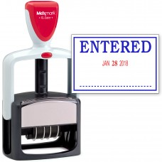 2000 PLUS Heavy Duty Style 2-Color Date Stamp with ENTERED self inking stamp - Blue/Red Ink