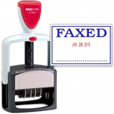 2000 PLUS Heavy Duty Style 2-Color Date Stamp with FAXED self inking stamp - Blue/Red Ink