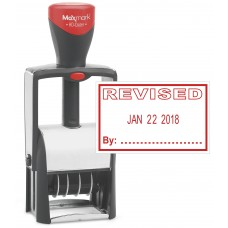 "Heavy Duty Date Stamp with ""REVISED"" Self Inking Stamp - RED Ink"