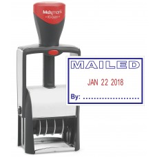 "Heavy Duty Date Stamp with ""MAILED"" Self Inking Stamp - 2 Color Blue/Red Ink"