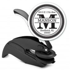 Round Monogram Address Seal Embosser - Style EM002