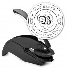 Round Monogram Address Seal Embosser - Style EM024