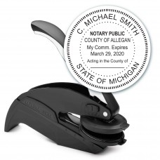 Notary Seal Round Embosser for Michigan State - Includes Gold Burst Seal Labels (42 count)