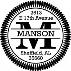 Round Monogram Address Stamp - Style MOAD002