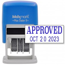 MaxMark Self-Inking Rubber Date Office Stamp with APPROVED Phrase & Date - BLUE INK (Max Dater II), 12-Year Band