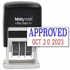 MaxMark Self-Inking Rubber Date Office Stamp with APPROVED Phrase & Date - BLUE/RED INK (Max Dater II), 12-Year Band