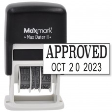 MaxMark Self-Inking Rubber Date Office Stamp with APPROVED Phrase & Date - BLACK INK (Max Dater II), 12-Year Band