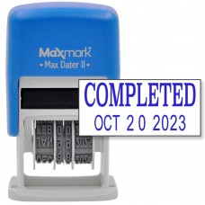MaxMark Self-Inking Rubber Date Office Stamp with COMPLETED Phrase & Date - BLUE INK (Max Dater II), 12-Year Band