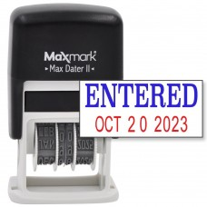 MaxMark Self-Inking Rubber Date Office Stamp with ENTERED Phrase & Date - BLUE/RED INK (Max Dater II), 12-Year Band