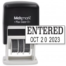 MaxMark Self-Inking Rubber Date Office Stamp with ENTERED Phrase & Date - BLACK INK (Max Dater II), 12-Year Band