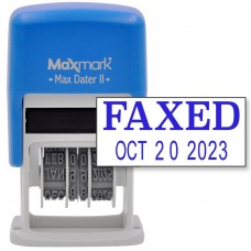 MaxMark Self-Inking Rubber Date Office Stamp with FAXED Phrase & Date - BLUE INK (Max Dater II), 12-Year Band