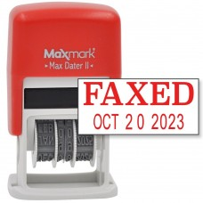MaxMark Self-Inking Rubber Date Office Stamp with FAXED Phrase & Date - RED INK (Max Dater II), 12-Year Band