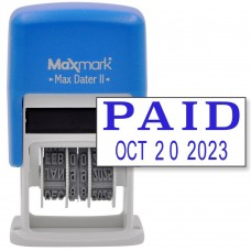 MaxMark Self-Inking Rubber Date Office Stamp with PAID Phrase & Date - BLUE INK (Max Dater II), 12-Year Band