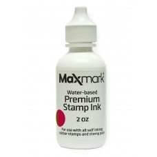 MaxMark Premium Refill Ink for self inking stamps and stamp pads, Crimson Red Color - 2 oz.